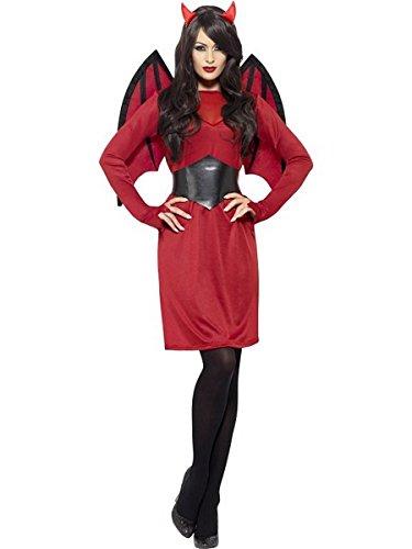 Uk Devil Costume Womens (Smiffy's Women's Economy Devil Costume, Dress, Wings, Belt and Horns, Legends of Evil, Halloween, Size 6-8,)