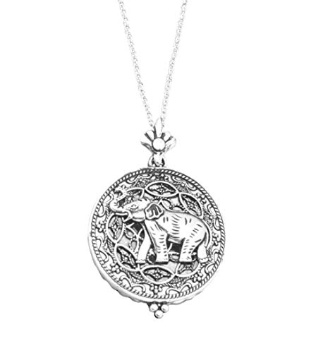 (Redwood Ornate Filigree Open Work Bas Relief Silver-Tone Elephant Magnifying Glass Pendant Necklace, 30