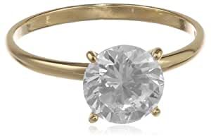 18k Yellow Gold Plated Sterling Silver Round Cubic Zirconia Solitaire Ring, (3.06 cttw), Size 8