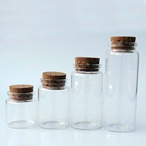 ELYSAID 2pcs Empty Clear Glass Bottles Vials with Cork Stopper Storage Jars 47mm Bottle Diameter