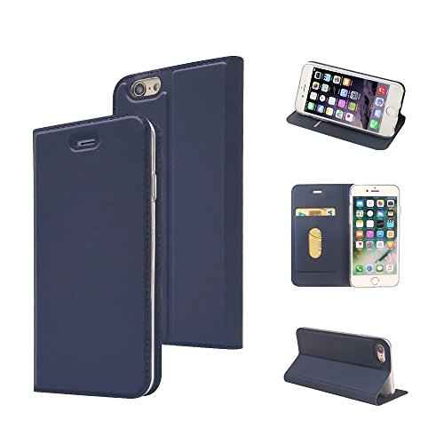 iPhone 8 Case, iPhone 7 Case, MTRONX Magnetic Closure Flip Slim PU Leather Soft TPU Wallet Case Cover Pouch Purse with Kickstand and Card Slot for Apple iPhone 8 iPhone 7 - Blue(MA-BU) (Pu Design Slim Leather)