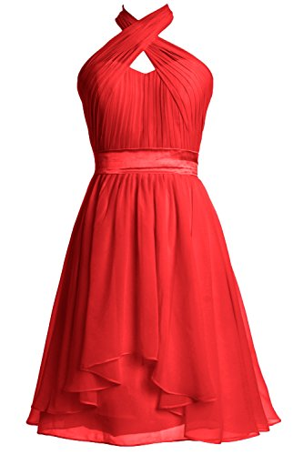 Halter Red Formal Party Dress Wedding Bridesmaid Macloth Length Women Knee Gown P1qwBXF