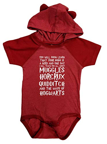 - BeeGeeTees You Will Soon Learn That Your Mom is A Nerd Funny Wizard Baby Clothes One-Piece Baby Romper (6 Months, Red-Red)