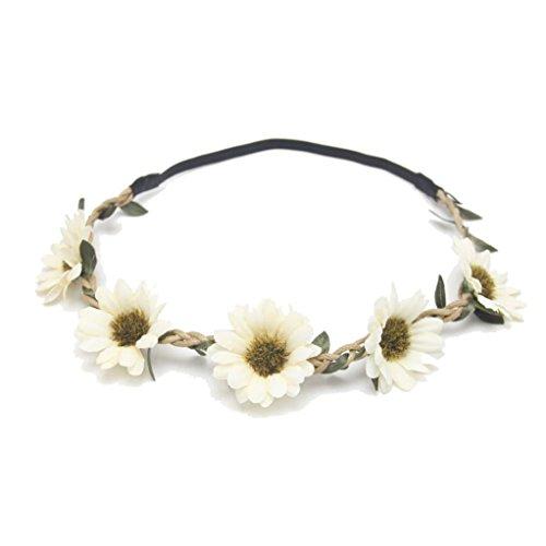 Anshinto Boho Sunflower Garland Floral Crown Hairband Headband for Beach Party Wedding (A)