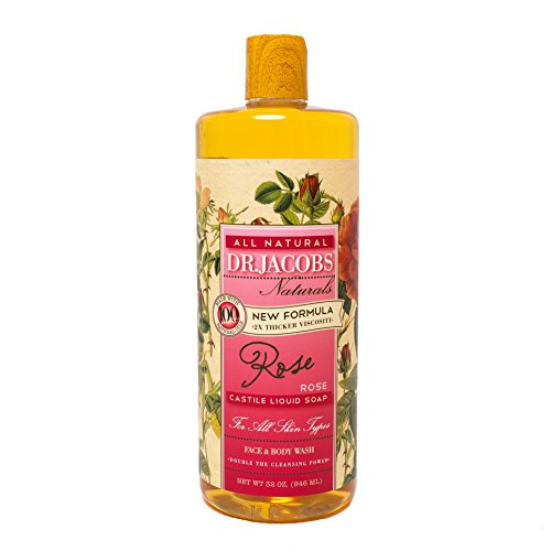 Dr. Jacobs Naturals Pure Castile Liquid Soap - Natural Face and Body Wash, Rose 32 oz.