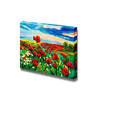 Oil Painting of Opium Poppy Field in Front...16