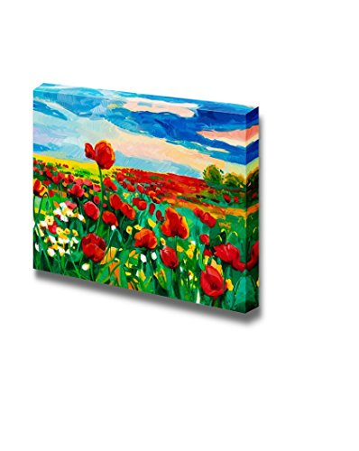 Oil Painting of Opium Poppy Field in Front of Beautiful Sunset Impressionism Home Deoration Wall Decor ing ped