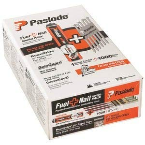 Paslode - 650527 3-Inch by .120 Ring Hot Dipped Galvanized Nail and Fuel Pack for Cordless Framing Nailer (1,000 Nails + 1 Fuel Cell)