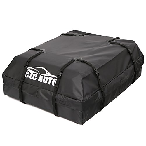 CZC AUTO Car Roof Cargo Carrier, 15 cu. ft Waterproof/Rainproof/Weatherproof Rooftop Storage Bag for Car SUV Van Sedan with Roof Rail Cross Bar Basket or Rack, Soft, Black