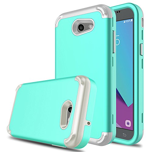 DONWELL New Galaxy J3 2017 Hybrid Three Layer Shockproof Protective Hard Armor Cell Phone Case Cover Protector for Samsung Galaxy J3 Emerge/Express Prime 2 / Amp Prime 2 (Green & Grey)
