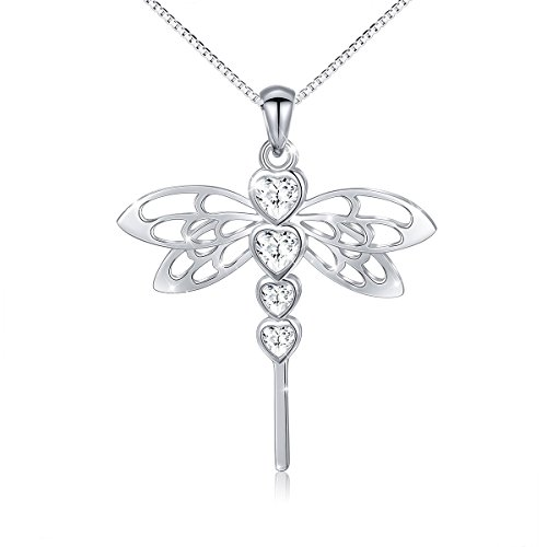 S925 Sterling Silver Cute Dragonfly Heart CZ Pendant Necklace for Women Teen Girl Christmas 18'' (Dragonfly Sterling Silver Pendant)