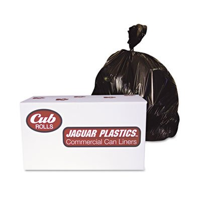 Jaguar Plastics D38634BN Industrial Drum Liners, Rolls, 2.7mil, 38 x 63, Black, 50 Bags per Roll