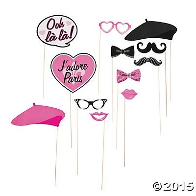 Paper Pink Paris Photo Booth Stick Props - 12 pcs by Party - Booth Paper