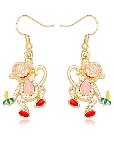 TUSHUO Enamel Rhinestone Monkey Eat Banana Dangle Hook Earrings Souvenir for Women