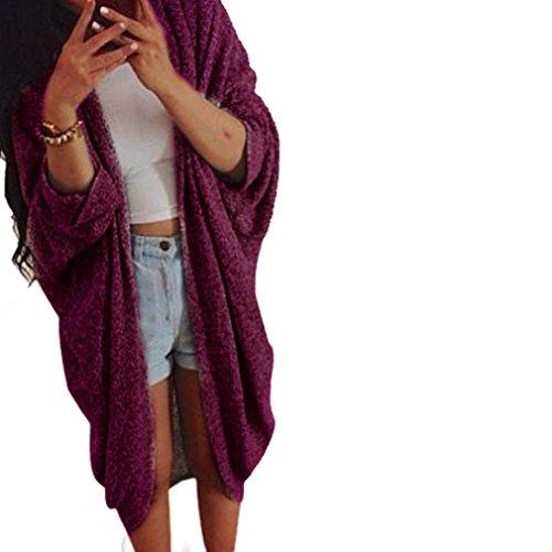 Sunward Fashion New Womens Casual Oversize Knit 3/4 Sleeve Sweater Cardigan Coat (XL, Red)