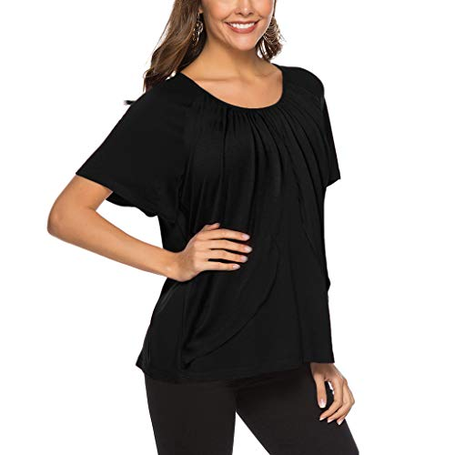 - Fashion Women Tops,St.Dona Womens Summer Elegant Short Sleeve Solid T-Shirt Casual Flare Tunic Loose Top Blouse Black