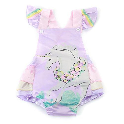 puseky Princess Baby Girls Unicorn Backless Ruffle Tutu Romper Jumpsuit Bodysuit (Light Purple, 6-12 Months)