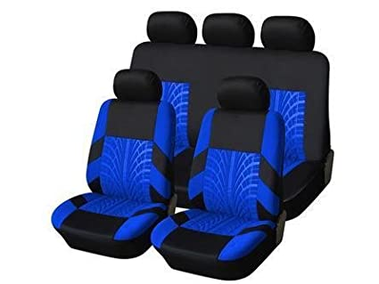 MR E SAVER© Heavy Duty Black & Blue Trax Full Set Seat Covers - Front and Rear MRE640