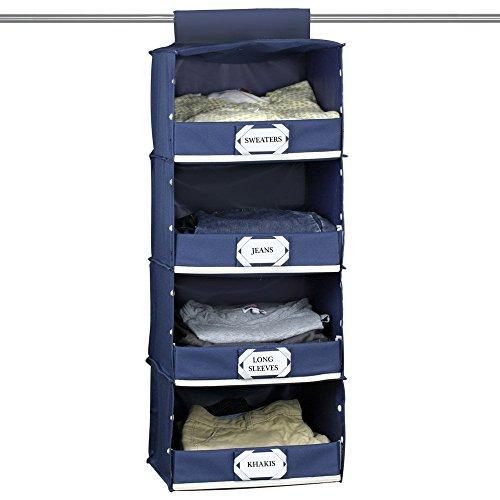 Storage Cabinet Large Fabric Wardrobe (Blue) - 9