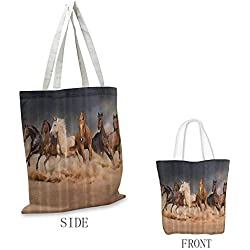 Durable canvas bag Horse Country Khaki Easy to care Masculine Running Horses Southwestern Gifts for Equestrians Farm 16.5x14x6.3(inch) Brown Charcoal Gray Cream