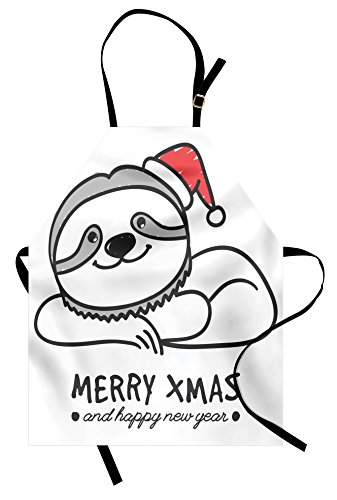 Ambesonne Sloth Apron, Smiling Sloth with Christmas