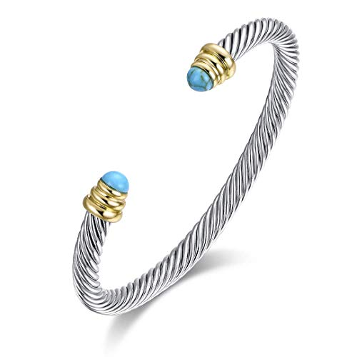 Ofashion Twisted Cable Bracelet with Turquoises, Brass Alloy, 5mm