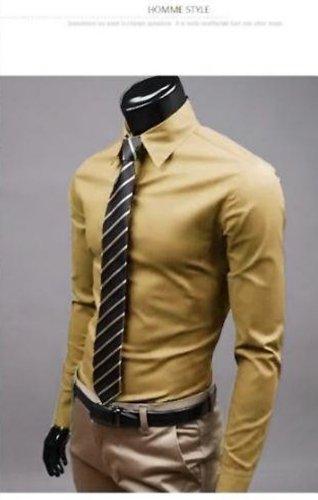 Keral Casual Slim Fit Unique Neckline Stylish Long Sleeve Mens shirts Khaki XXL