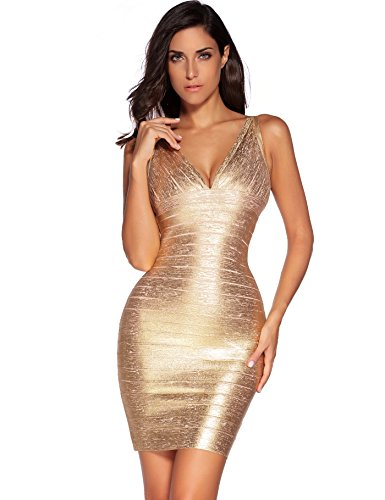 Meilun Women's Rayon Sexy V-Neck Bandage Bodycon Strap Gold Foil Dress (Small,...