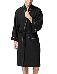 Dolamen Unisex Men's Women's Bathrobe, Cotton Ladies Dressing Gown Nightwear Pyjamas