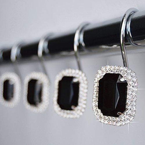 American Cuteness Shower Curtain Hooks Rings - Black Luxurious Decorative Crystal Diamond Bling Rhinestones Bathroom Bath Gift Set Women Girls Decor (Black)