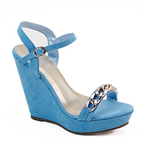New Brieten Mujeres Chain Strap Wedge Platform Slingback Dress Party Sandalias De Noche Azul