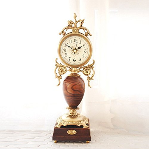 Sweet Heart Home Deco Battery Powered Antique Classic Table Desk Brass Wood Analog Clock
