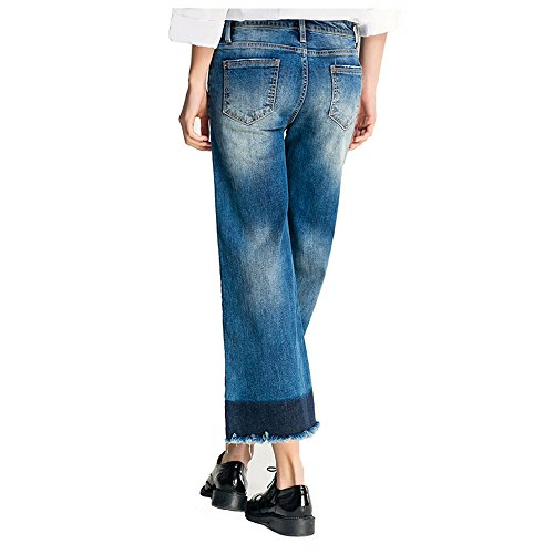 Sala Women's Straight Wide Leg Flared Jeans Cropped Pants (L)