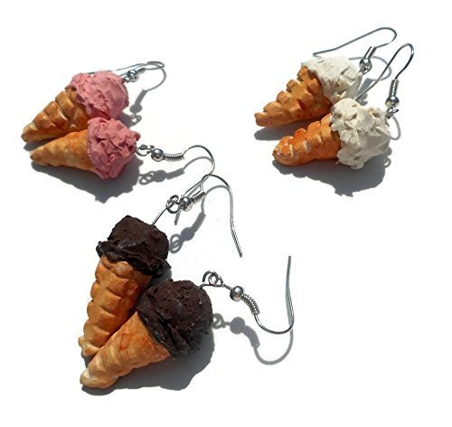 Ice Cream Cone Earrings Chocolate Vanilla Strawberry Choice of Flavor
