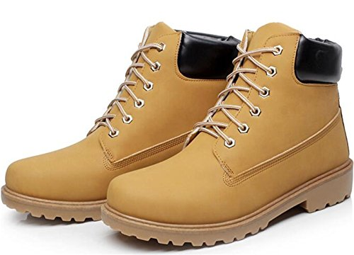 DADAWEN Unisex Adults' Outdoor Hiking Trekking Military Combat Boots Yellow (Men) uVGDjlDU