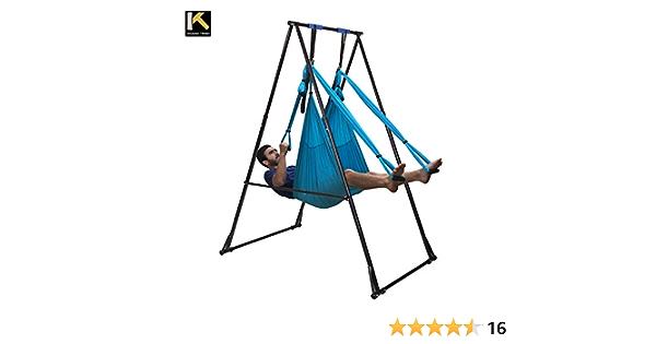 KT KT1.15201 Juego de Equipo de Yoga aéreo, Incluye Hamaca de Yoga de Antena Azul y la Altura Ajustable, Plegable, Resistente, Duradera, Soporte para ...