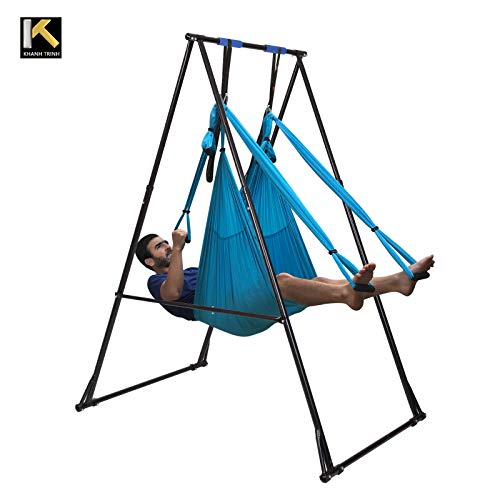 KT Air Yoga Equipment Set Includes  Blue Aerial Yoga Hammock and The  Height-Adjustable Foldable Sturdy Durable Yoga Trapeze Stand Frame 6917401c1