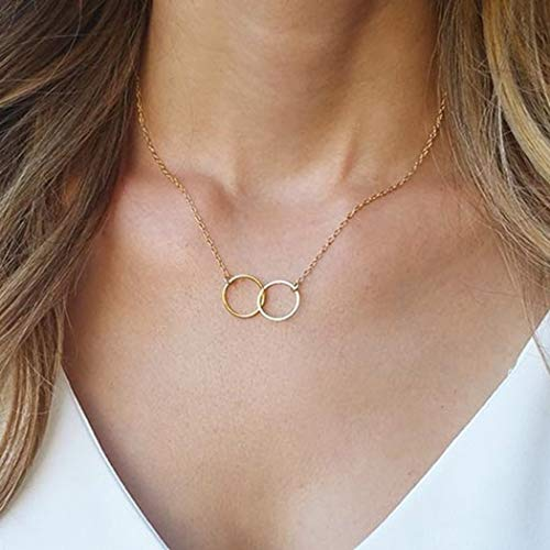 CanB Double Circle Necklace Double Ring Necklace Interlocking Necklace Karma Necklace Ring Link Necklace Entwine Necklace