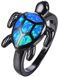 Blue Turtle Animal Opal Rings Women's Black Gold Plated Engagement Gift