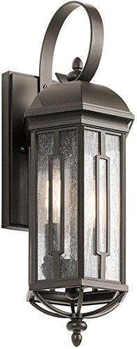 - Kichler 49709OZ Galemore Outdoor Wall Sconce, 2 Light Incandescent 120 Total Watts, Olde Bronze