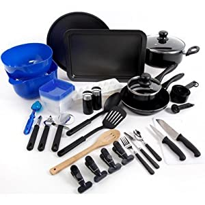 Gibson Home 91588.59R Kitchen Deluxe 59 Piece Aluminium Cookware Combo Set, Large, Black