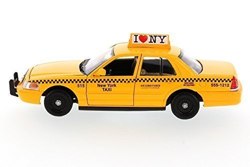 Car Diecast Taxi (Showcasts I Love New York 2010 Ford Crown Victoria ILNY Taxi Cab 1/24 Scale Diecast Model Car Yellow)