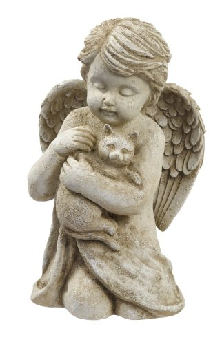 Grasslands Road Cherub with Cat, 7-Inch, Gift Boxed (Statues Garden Cherub)
