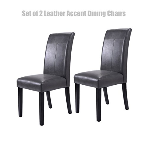 Modern Design Accent Dining Chairs Sturdy Rubber Wood Leatherette High Density Padded Cushion Seat Home Office Furniture Set of 2 #1431 (Edgewater Dining)