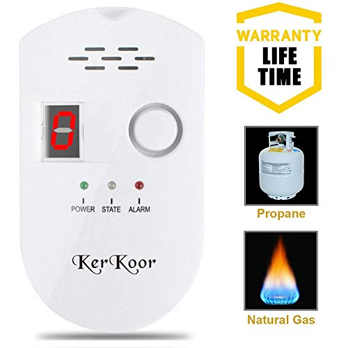 (KerKoor Gas Leak Detector-1 Natural Gas Alarm Detector For Home Gas Tester Propane Smart Gas Detector Electronic Sniffer Pen Plug-In Gas Detector For Gas Sensor Methane And Propane 5×3 in/White/1pack)
