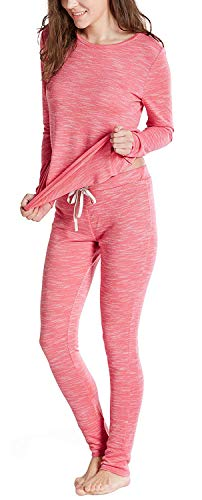 (Ink+Ivy Cotton Modal Winter Pajamas for Women, Thermal Underwear Set with Picot Trim Top & Leggings, Blush S)