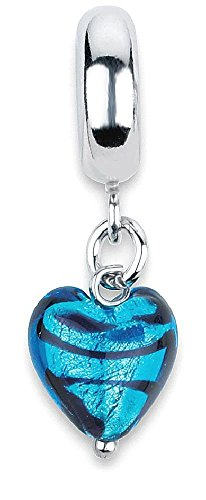 ICE CARATS 925 Sterling Silver Charm For Bracelet Blue Heart Stripes Ital Murano Dangle Bead Love Glas Fine Jewelry Gift Set For Women - Cute Glases