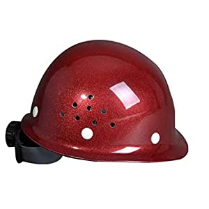 ZXW Casco- Casco de Seguridad Resistente al Choque eléctrico del Sitio del Casco de FRP de la construcción (Color : Red, Tamaño : L27*W21*H17cm)