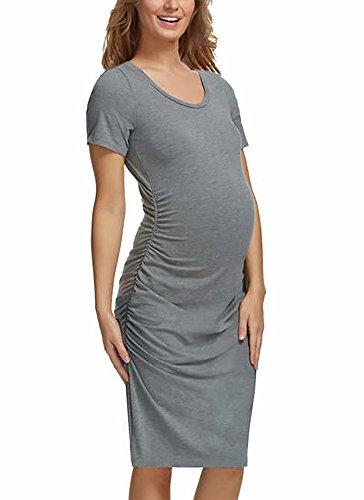 (Felina Ladies Maternity T-Shirt Dress, Grey, Size Small )