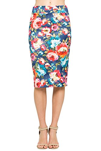 - Junky Closet Women's Comfort Stretch Pencil Midi Skirt (Medium, T2936SKEI Denim)